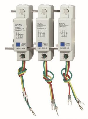 额定工作电压ue 动作电压 接线图 dz47gq 过欠压脱扣器 ac: 400v(过压